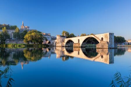 avignon: Avignon Bridge with Popes Palace in Provence, France Stock Photo