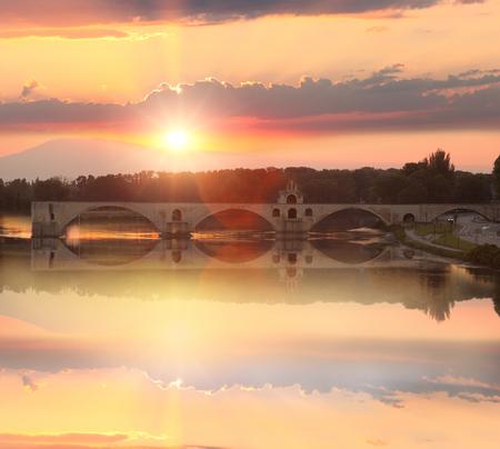 avignon: Avignon Bridge with Rhone river at sunset, Pont Saint-Benezet, Provence, France