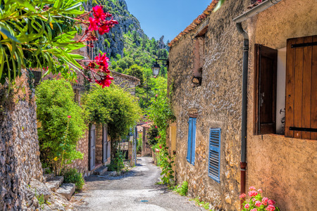 Moustiers Sainte Marie village with street in Provence, France