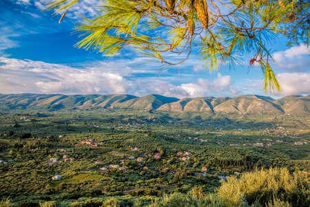 zakynthos: Green Zakynthos island with mountain in Greece Stock Photo
