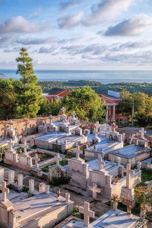 memorial cross: Old cemetery on the island of Zakynthos, Greece Editorial