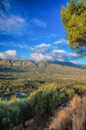 ionio: Green Zakynthos island with mountain in Greece Stock Photo