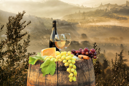 italy landscape: White wine with barrel on famous vineyard in Chianti, Tuscany, Italy