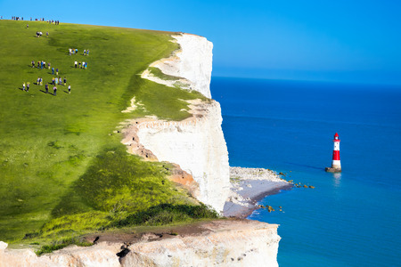 top 7: Beachy Head Lighthouse with chalk cliffs near the Eastbourne, East Sussex, England Stock Photo