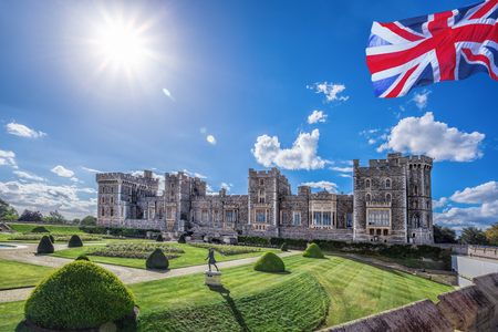 windsor: Windsor castle with garden near London, United Kingdom