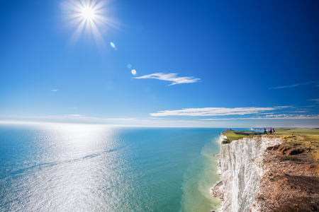 top 7: Beachy Head with chalk cliffs near the Eastbourne, East Sussex, England