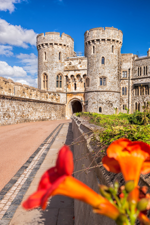windsor: Windsor castle with flowers near London, United Kingdom