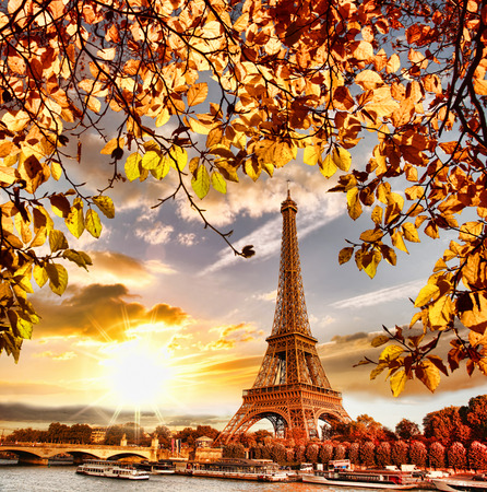 urban scene: Eiffel Tower with autumn leaves in Paris, France