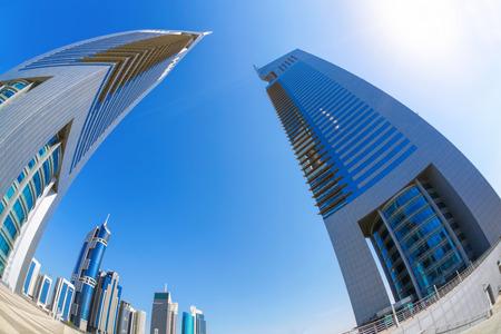 Futuristic architecture in Dubai, Emirate towers, United Arab Emirates