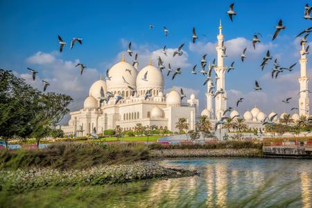 zayed: Sheikh Zayed Grand Mosque with birds, Abu-Dhabi, United Arab Emirates