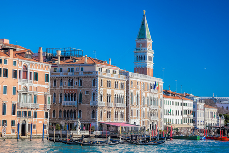 marcos: Piazza San Marco with gondolas against Bell Tower in Venice, Italy Stock Photo