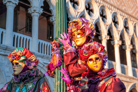 doge's palace: Beautiful carnival mask on San Marco square in Venice, Italy Stock Photo