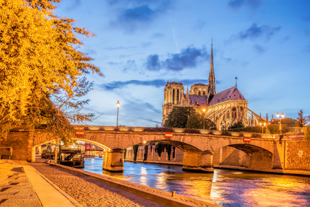 Notre Dame cathedral in Paris during evening, France