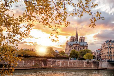 paris france: Notre Dame cathedral against colorful sunset during spring time in Paris, France Stock Photo