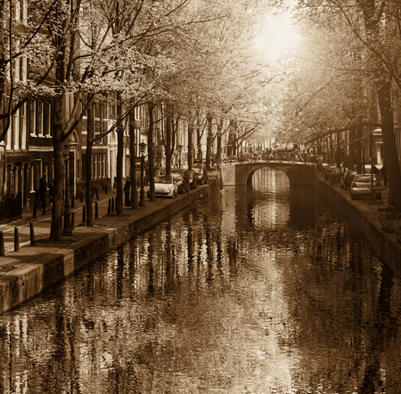 Amsterdam with canal in the downtown, Holland Stock Photo