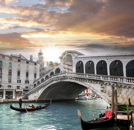 rialto: Venice, Rialto bridge and with gondola on Grand Canal, Italy