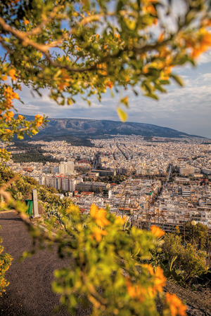 Large city of Athens with spring trees in Greece Stock Photo