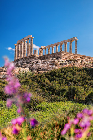Greek temple Poseidon during spring time, Cape Sounion in Greece
