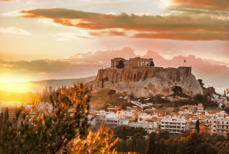 corinthian column: Acropolis with Parthenon temple against sunset in Athens, Greece