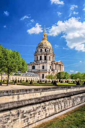 champs elysees: Paris with Les Invalides during spring time, famous landmark in France