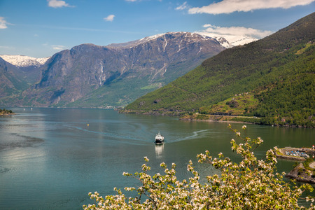 Spring time with cruise ship in fjord, Flam, Norway Stock Photo