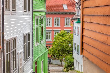 Wooden houses in Bergen. UNESCO World Heritage Site, Norway Stok Fotoğraf