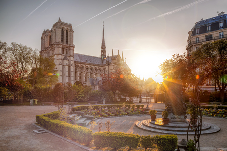 Paris, Notre Dame cathedral against sunrise in France Stock Photo
