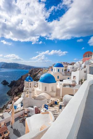 easter cross: Beautiful Oia village on Santorini island in Greece