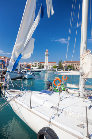 ionio: Zakynthos town with yacht in Greece Stock Photo