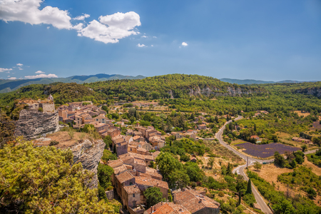 Village of Saignon with lavender field in the Luberon, Provence, France