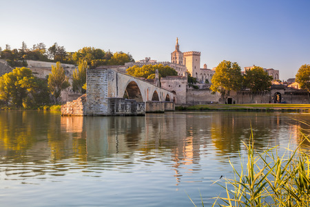 Avignon Bridge with Popes Palace in Provence, France Stock Photo