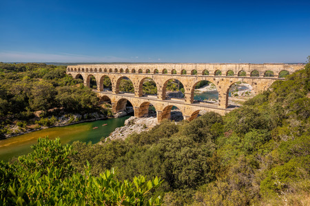Pont du Gard is an old Roman aqueduct in Provence, France