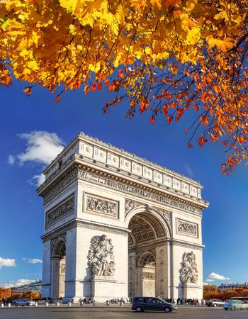 champs elysees: Famous Arc de Triomphe in autumn, Paris, France