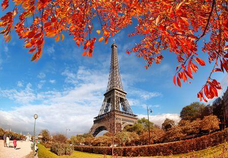 city park skyline: Eiffel Tower with autumn leaves in Paris, France