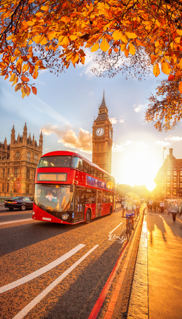 Buses with autumn leaves against Big Ben in London, England, UK 新聞圖片
