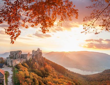 Aggstein castle with autumn forest in Wachau, Austria Stock Photo