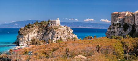 Panorama of Santa Maria dellIsola Church with Tropea town in Calabria, Italy