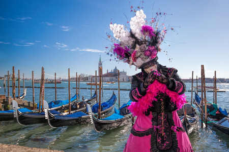 Colorful carnival mask at a traditional festival in Venice, Italy Stock Photo