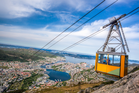 Ulriken cable railway in Bergen, Norway. Gorgeous views from the top of the hill. Stock Photo