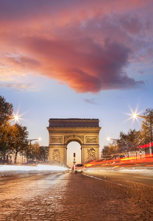 Arc de Triumph at night in Paris, France Stock Photo