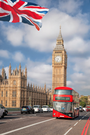 Big Ben with red bus in London, England, UK