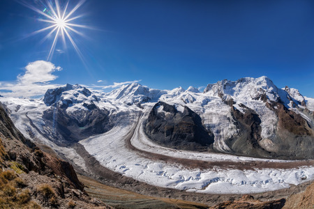 Swiss Alps with glaciers against blue sky, Zermatt area, Switzerland Stok Fotoğraf