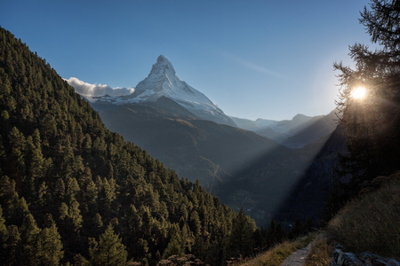 Famous Matterhorn peak against sunset in Zermatt area, Switzerland Stock Photo