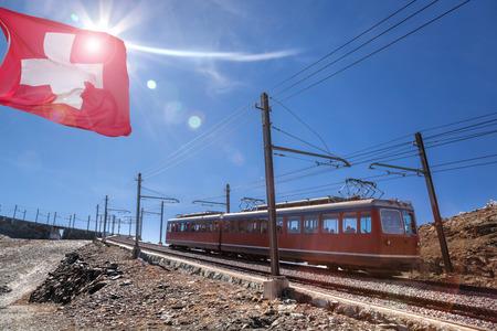 Gornergrat train in Swiss Alps, Zermatt area, Switzerland
