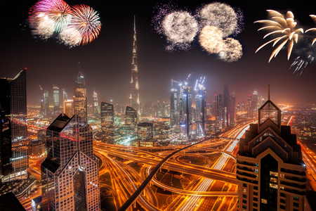 Amazing New Year fireworks display in Dubai, UAE