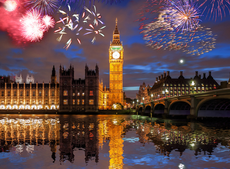 Big Ben with firework in London, England (celebration of the New Year) Imagens