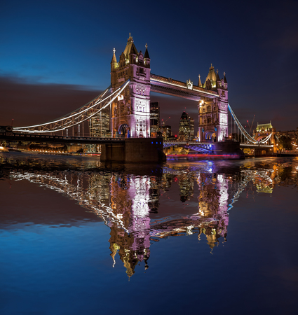 Tower Bridge at night in London, England, UK