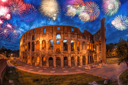 Colosseum with firework in Rome, Italy 写真素材