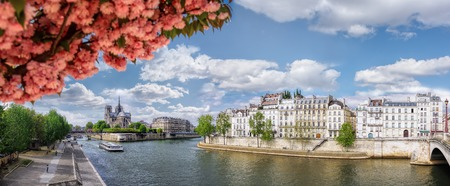 Panorama with Notre Dame cathedral and boat on Seine in Paris, France 写真素材
