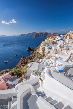Oia village churches on Santorini island in Greece